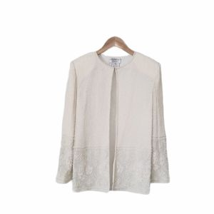 PAPELL BOUTIQUE Beaded Jacket 100% Silk Cream